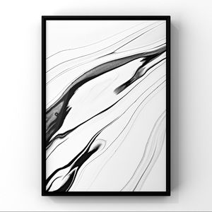 Black white monochromatic modern abstract wall art